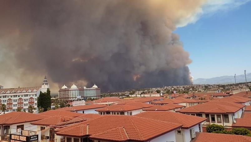 Пожар в Сиде Турция