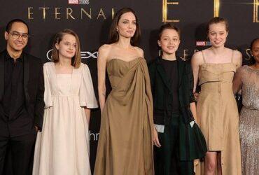 Анджелина Джоли с детьми, на премьере фильма «Вечные». Шайло Нувель Джоли-Питт удивила своим нарядом